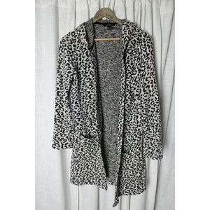 Forever 21 Leopard Long Cardigan Sweatshirt Hoodie